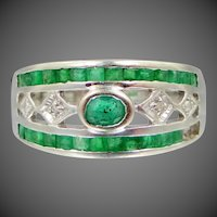 14k White Gold Diamond and Emeralds Ladies Ring