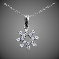 10k White Gold Snowflake Necklace