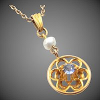 Late Victorian 10k Gold Blue Topaz and Freshwater Pearl Lavaliere with Chain