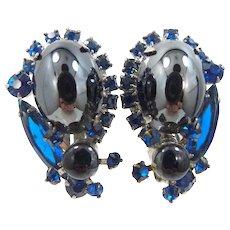 Juliana {D & E}Hematite Cabochons Earrings with Sapphire Blue Glass Stones