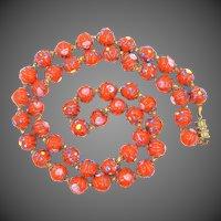 Venetian Art Glass Wedding Cake Bright Orange Necklace