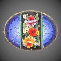 Vintage Italian Mosaic Oval Brooch Circa 1930's