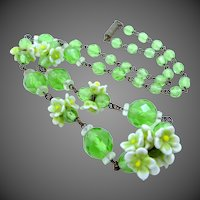 Tagged Czechoslovakia Green Glass Flowers Necklace