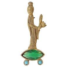 "DeNicola Geisha Girl Asian Pin with ""Flawed Emerald"" Glass Stone"