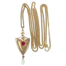 Victorian 12k Gold Ruby and Seed Pearls Lavaliere Necklace