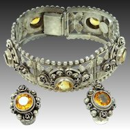 Cellini's 800 Silver and Genuine Citrines Etruscan Style Bracelet & Earrings