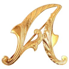 """Victorian 18k Gold Finely Etched Letter """"A"""" Pin"""