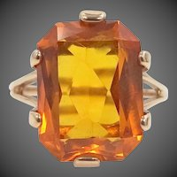 10k White Gold Synthetic Golden Sapphire Lady's Size 10 Ring