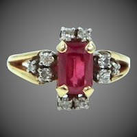 14k Gold Ruby and Diamonds Lady's Ring
