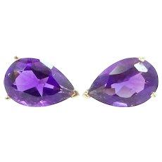 14k Gold Natural Amethyst Earrings 3 Carats in Each Earring