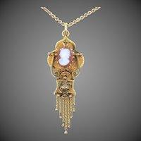Victorian 14k Gold Sardonyx Cameo Swivel Necklace