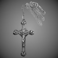 Victorian Silver Plated Crucifix with Cherubs in Each Corner