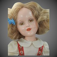"""1939 Mme. Alexander Sonja Henie 18"""" Composition Doll Tagged Red Velvet Dress & Signed Body Plus Original Hang Tag"""