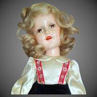 "1939 Mme. Alexander Sonja Henie 18"" Composition Doll Original Tagged Dark Blue or Black Velvet Dress Plus Hat & Signed Body"