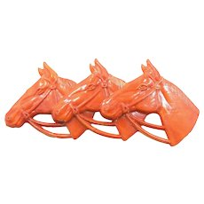 1930's Orange Celluloid Horse with 3 Horse Heads