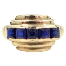 Retro Era 10k Gold and Sapphires Lady's Ring