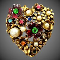 1960's Signed CORO Heart Shaped Pin