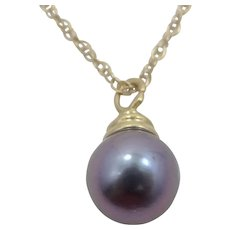 14k Gold Gray Cultured Pearl Necklace