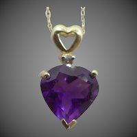 10k Gold Heart Shaped Genuine Amethyst & Diamond Necklace