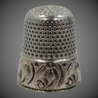 Sterling Silver Thimble with Pale Gold Vermeil Band
