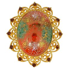 Juliana D & E Easter Egg Filigree Metal Accents Pin with Large Stippled Cabochon