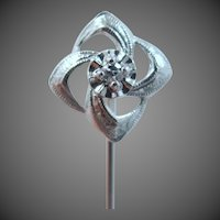14k White Gold and Diamond Art Deco Stick Pin