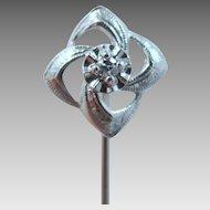 14k White Gold and Diamond Art Deco Stick Pin