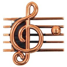 Unusual Signed Renoir Copper G Clef Pin