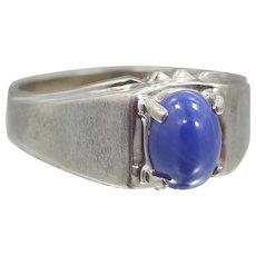 Man's 10k White Gold Star Sapphire Ring