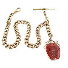Victorian Finely Etched Links Watch Chain with Great Fob