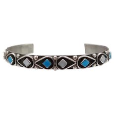 Zuni Elliot Gasper Sterling Silver, Turquoise and Mother of Pearl Cuff Bracelet