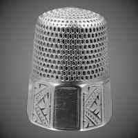 Simons Sterling Silver Thimble with Art Deco Panels Size 11
