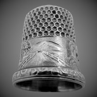 Unusual Simons Sterling Thimble with Picket Fence, Road, House, Bridge, Tree and Rising Sun