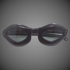 1960's MOD Black Lucite French Sun Glasses with Dark Lenses