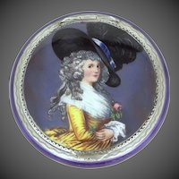 Sterling Silver and Enamel Portrait Compact Made in Germany