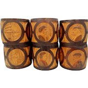 6 Very Old ANRI Carved Wood Napkin Rings