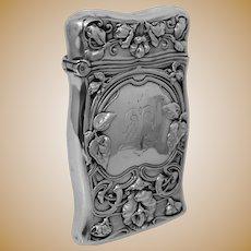 Art Nouveau Sterling Silver Match Safe DELTA UPSILON Fraternity Greek Letters Gorham