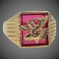 Man's 10k Gold Ruby L.O.O.M. Ring Loyal Order of Moose