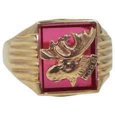 Man's 10k Gold Ruby L.O.O.M. Ring Loyal Order of Moose