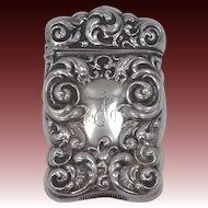 "Victorian Sterling Silver Match Safe Vesta Engraved ""A"""