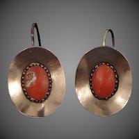10k Gold Victorian Coral Drop Earrings