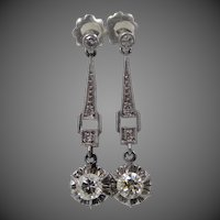 Antique Edwardian Platinum Diamond Dangle Earrings