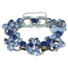 Juliana Blue Chatons Layered 5 Link Bracelet with Jeweled Belt Buckle Clasp