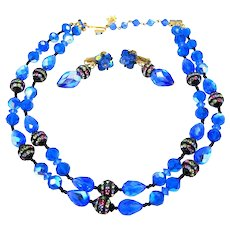 Bright Blue Glass Vendome Necklace and Earrings Set