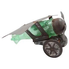 1920's Spirit of St. Louis Westmoreland Glass Air Plane Candy Container Green Glass