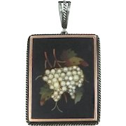 Victorian Pietra Dura Sterling Silver & 14k Gold Seed Pearls Grape Clusters Pendant