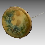 Victorian Hand Painted Celluloid Hat Pin