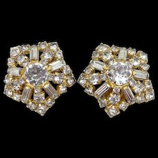 Signed Hobe Round & Baguette Crystals Clip on Earrings