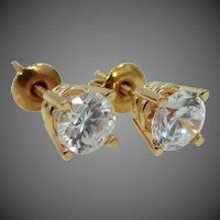 Pretty 10k & 14k Gold Cubic Zirconia Solitaire Stud Earrings