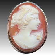 1930's Sterling Silver Cameo Pin / Pendant
